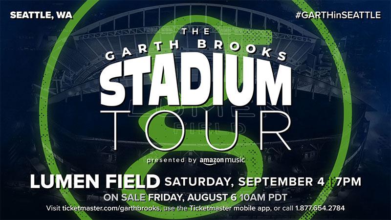 Garth Brooks Is Set For Lumen Field in Seattle  Saturday, September 4, 7:00 P.M.
