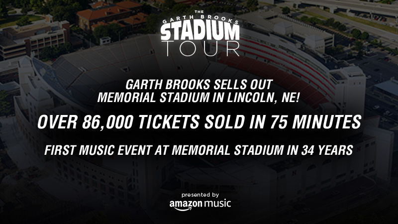 GARTH BROOKS SELL OUT MEMORIAL STADIUM IN LINCOLN, NEBRASKA! OVER 86,000 TICKETS SOLD IN 75 MINUTES