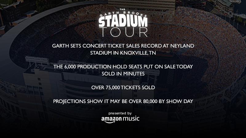 GARTH BROOKS SETS CONCERT TICKET SALES RECORD AT NEYLAND STADIUM IN KNOXVILLE, TN