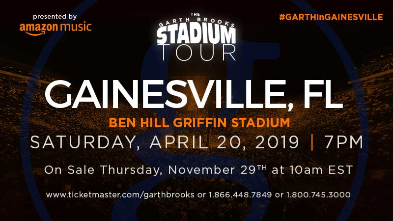 GARTH BROOKS IS SET FOR GAINESVILLE, FL