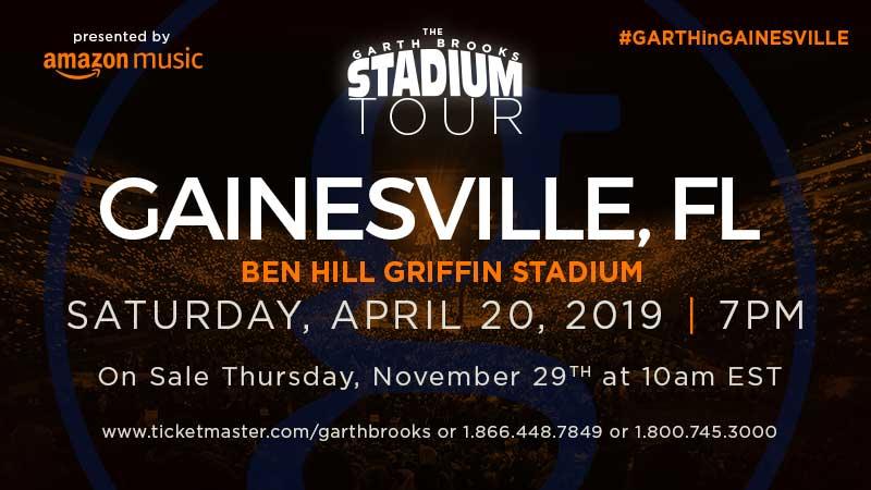 GARTH BROOKS IS SET FOR GAINESVILLE, FL