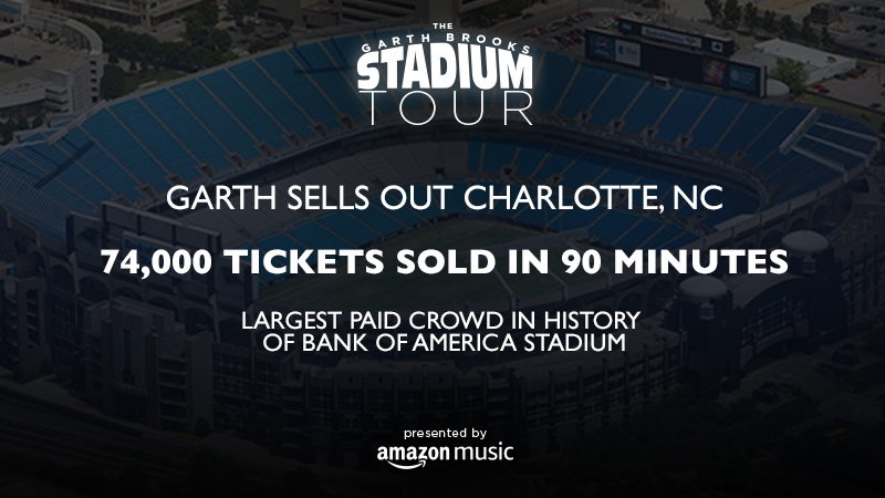 GARTH BROOKS SELLS OUT CHARLOTTE, NC - 74,000 TICKETS SOLD IN 90 MINUTES - LARGEST PAID CROWD IN HISTORY OF BANK OF AMERICA STADIUM
