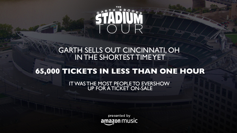 GARTH BROOKS SELLS OUT CINCINNATI, OH IN THE SHORTEST TIME YET - 65,000 TICKETS IN LESS THAN ONE HOUR