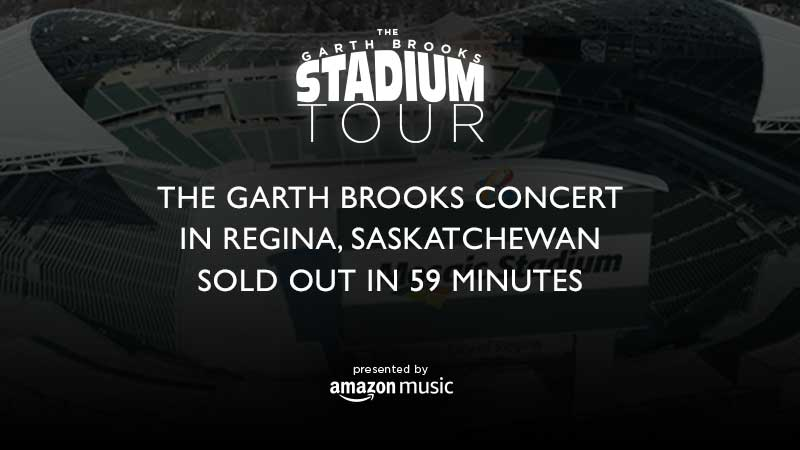 THE GARTH BROOKS CONCERT IN REGINA, SASKATCHEWAN SOLD OUT IN 59 MINUTES